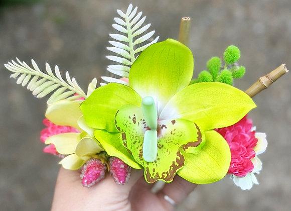 Tropical Green & Pink Hair Flower/Mini Crown