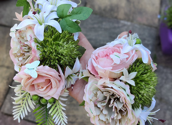 Peach butterfly corsage set