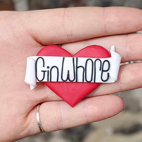 Red Gin Whore Heart Brooch