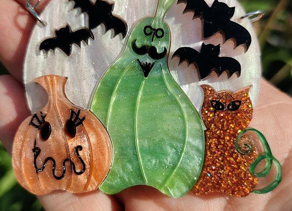 Walking pumpkin couple necklace