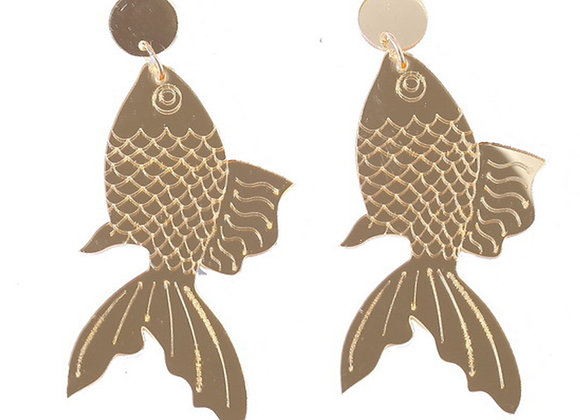 Metallic Goldfish Earrings