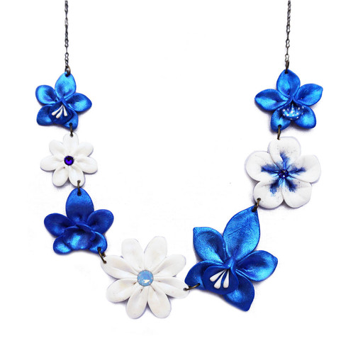 Blue white flower chain necklace mightylinksfo