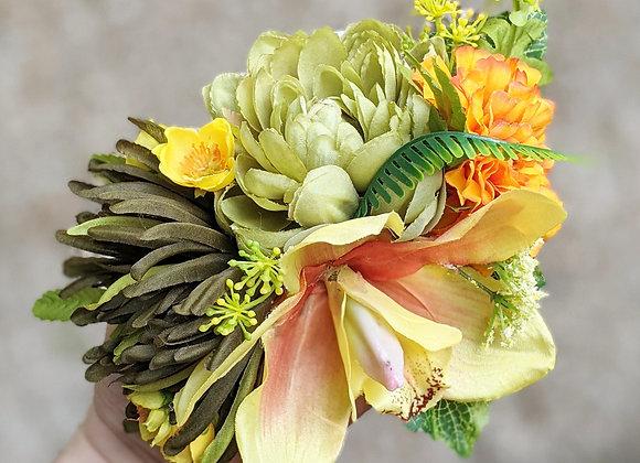 Green, Orange & Yellow Hair Flower