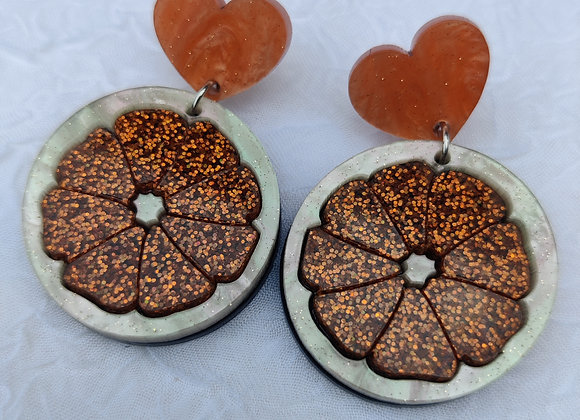 Orange slice and heart earrings