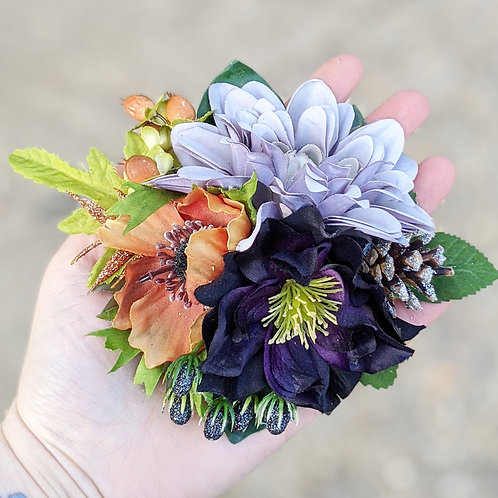 Grey & Brown Hair Flower