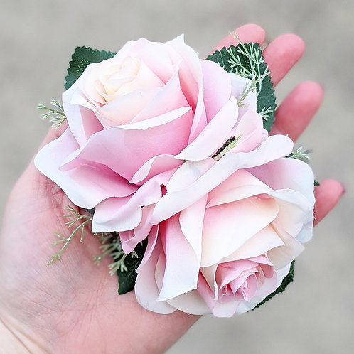 Double Pale Pink Rose Hair Flower