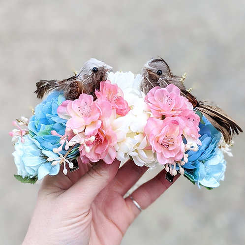 Blue, White & Pink Love Birds Hair Flower / Flower Crown