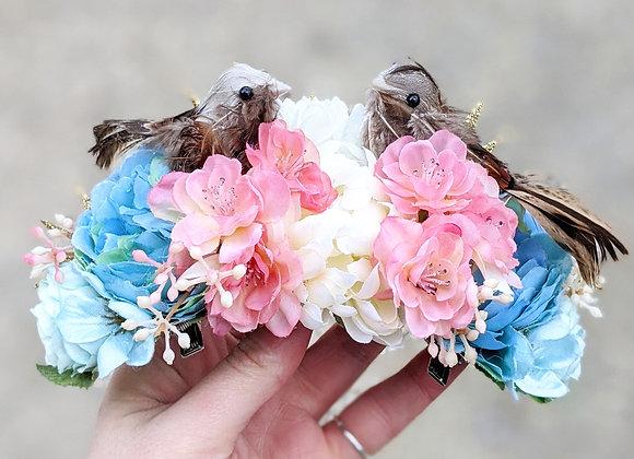 Blue, White & Pink Love Birds Hair Flower / Flower Crown