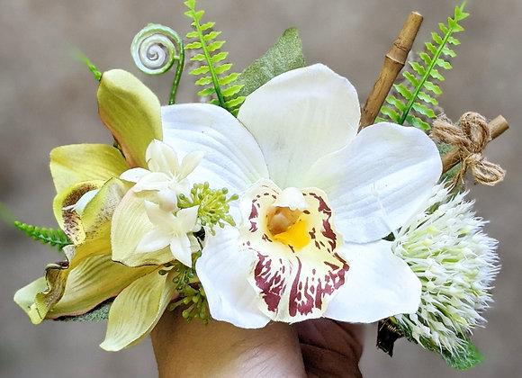Green & White Hair Flower/Crown
