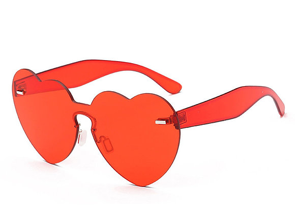 Transparent Heart Sunglasses With Case