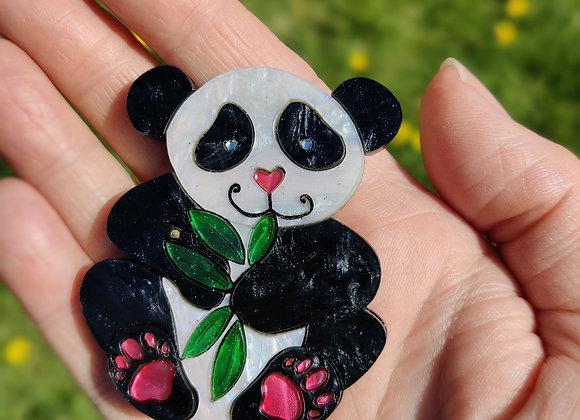 Panda bear brooch