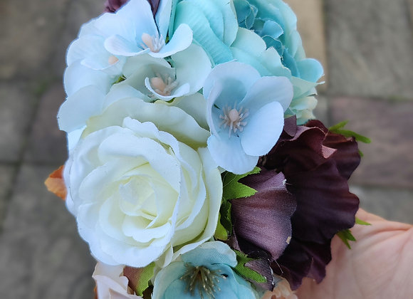Duck egg blue and browns hair flower