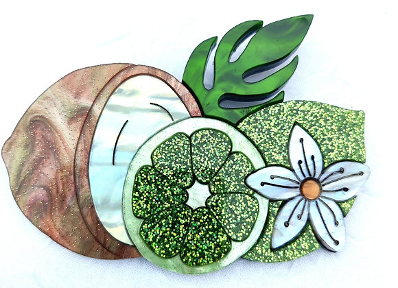 Lime and coconut brooch
