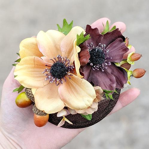 Small Brown Flowers & Acorns Fascinator