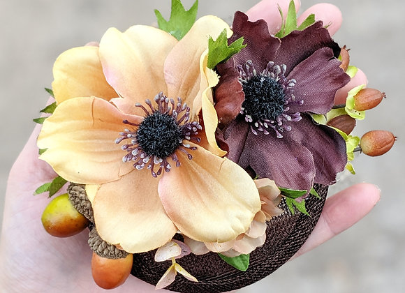 Small Brown Flowers & Acorns Fascinator
