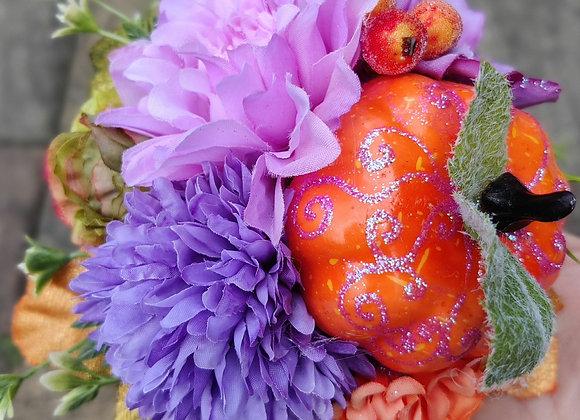 Pumpkin and purple Halloween hairflower