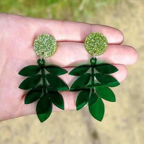 Glitter Top Leaf Earrings