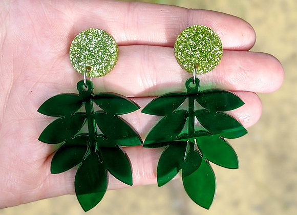 Glitter Top Leaf Earrings