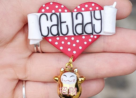 Cat Lady Heart Brooch