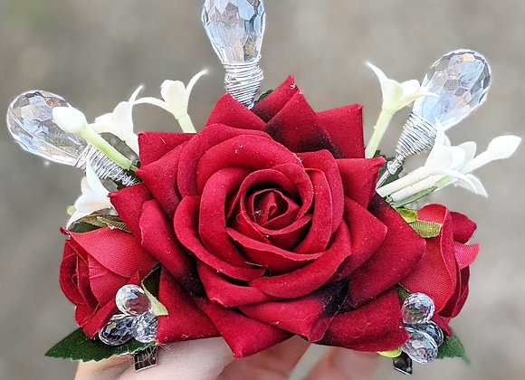 Rose & Crystals Hair Flower/Mini Crown
