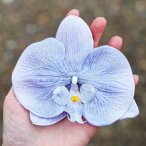 Single Grey/Pale Lilac Orchid Hair Flower