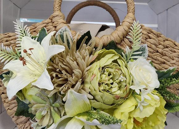 Cream and greens natural bag