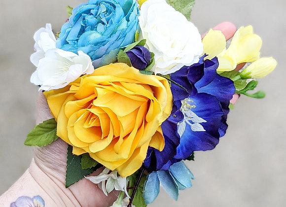 Blue, Yellow & White Hair Flower