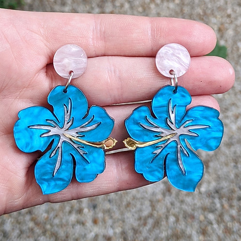 Pink & Blue Hibiscus Earrings