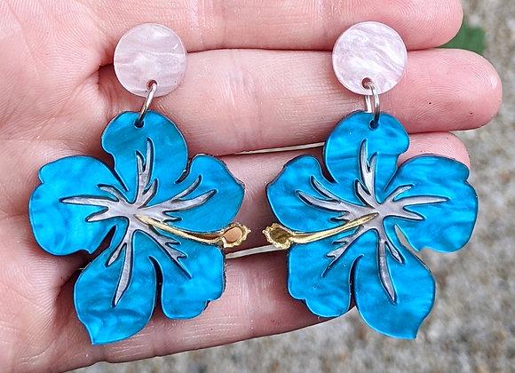 Pink & Blue Hibiscus Earrings