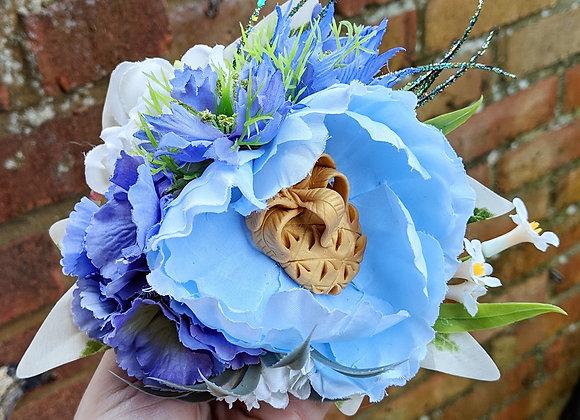 Blue & Gold Pineapple Hair Flower