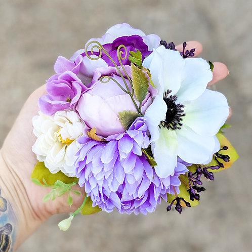 Purple, White & Green Hair Flower