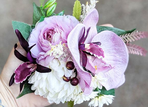 White & Purple Hair Flower