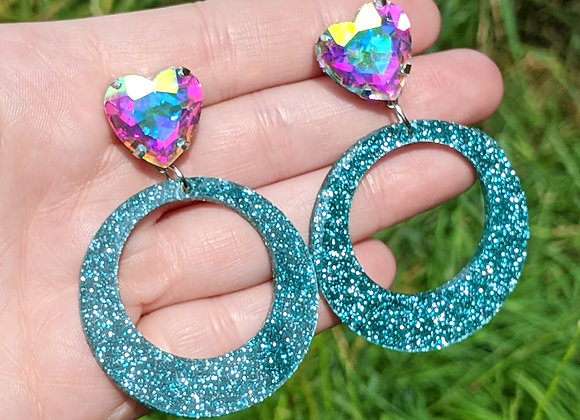 Large Circle & Crystal Earrings