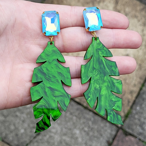 Large Green Leaf Earrings
