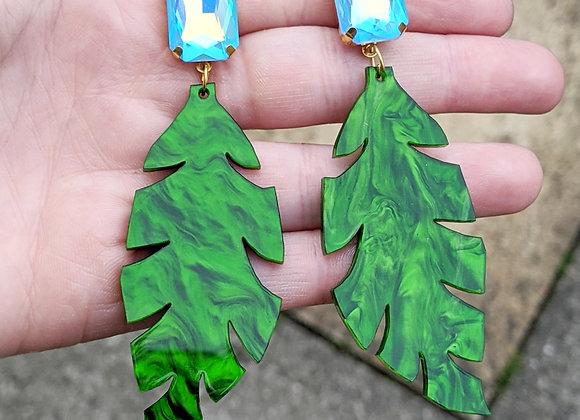 Large Green Leaf Earrings
