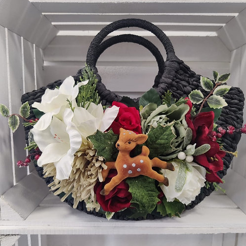 Festive Red & White Deer Bag Corsage