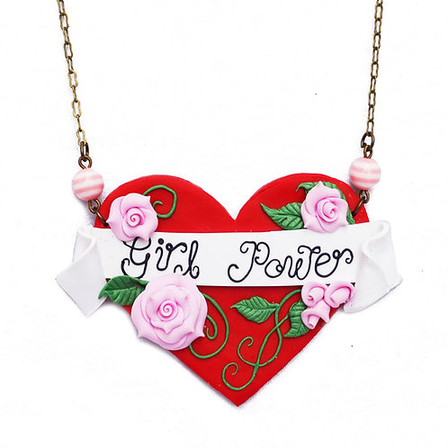 Girl Power Tattoo Art Heart Necklace