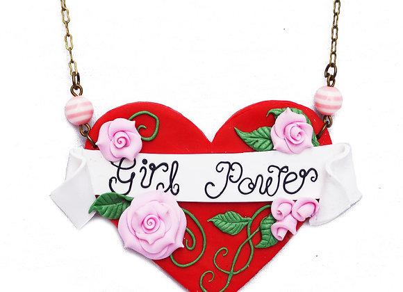 Girl Power Tattoo Art Heart Necklace