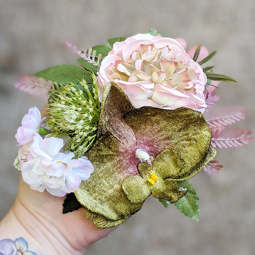 Pink & Green Hair Flower