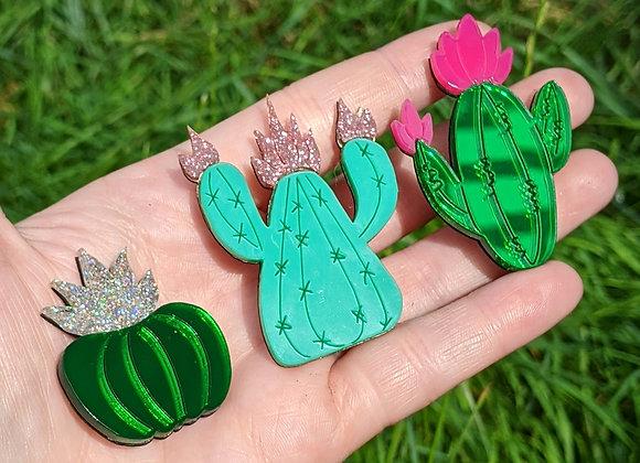 Green Cactus Trio Brooch Set
