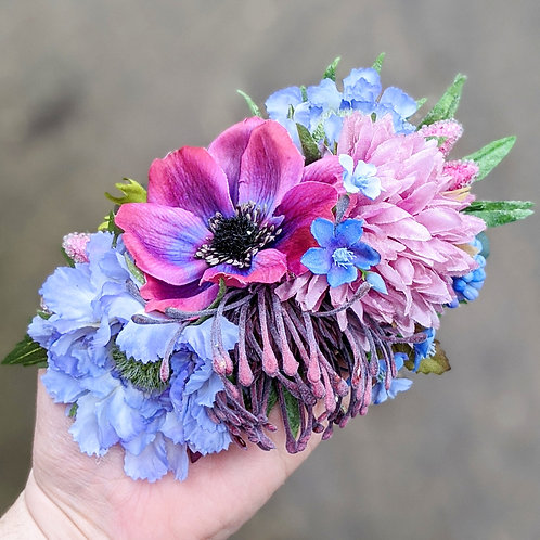 Purple & Blue Hair Flower
