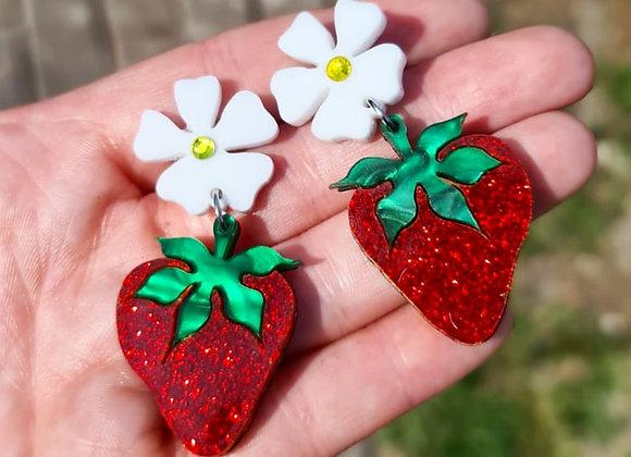 Glitter Strawberry Earrings