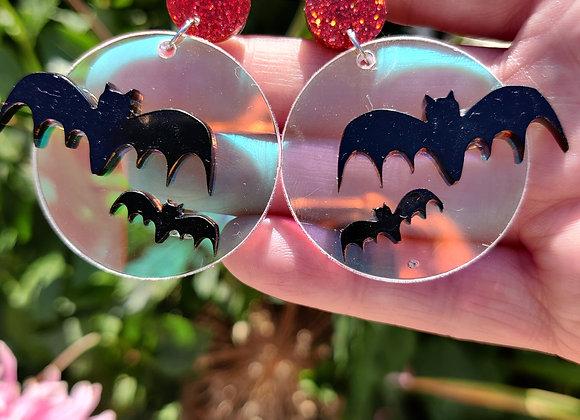 Bats and moon earrings