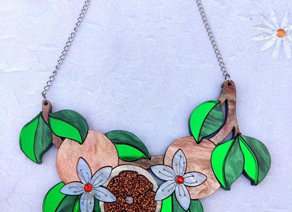 Orange branch necklace