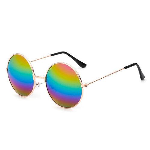 Rainbow Round Retro Frame Sunglasses With Case