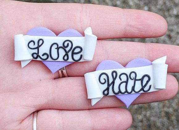 Purple Love Hate Brooch Pair