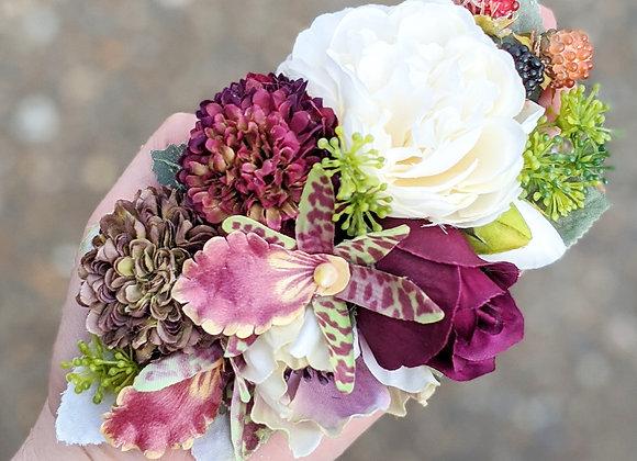 Cream, Green & Burgundy Hair Flower