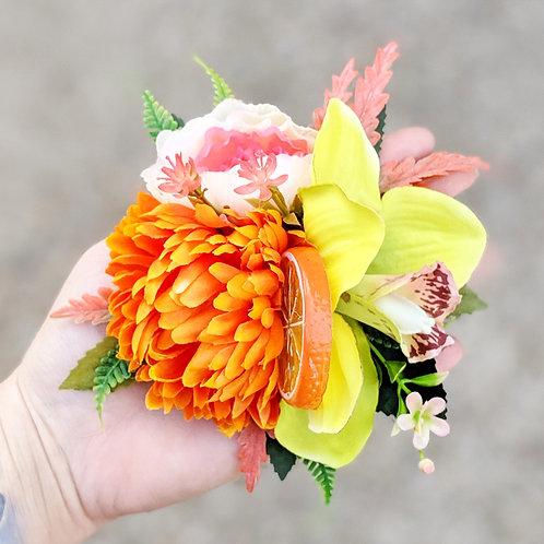 Orange & Green Hair Flower