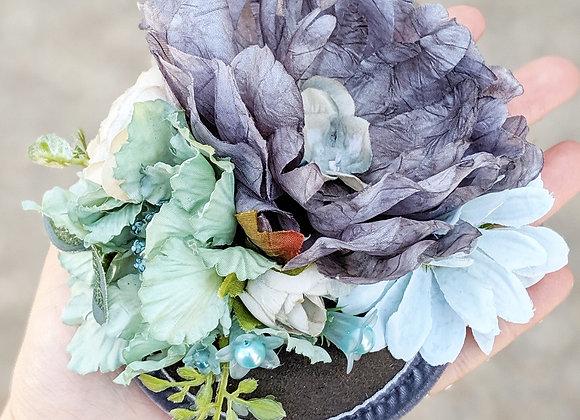 Grey & Green Floral Fascinator
