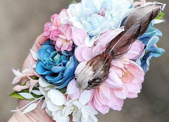 Blue, Pink & White Bird Bird Hair Flower